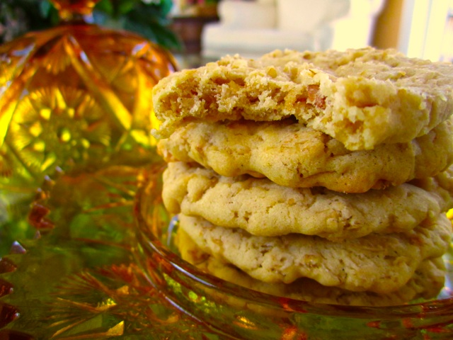 Oatmeal crispies cookies on a glass dish