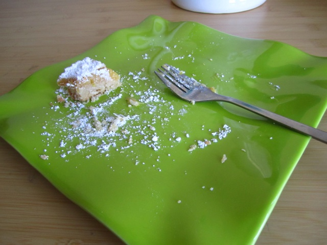 pomelo citrus bars on a green plate